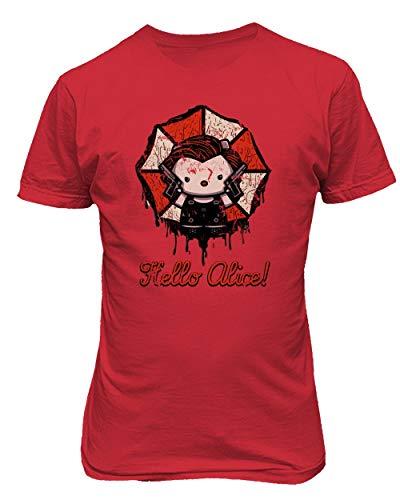 TMB Apparel New Novelty Shirt Kitty Resident Alice Evil Umbrella Halloween Men's T-Shirt (Red, XX-Large)
