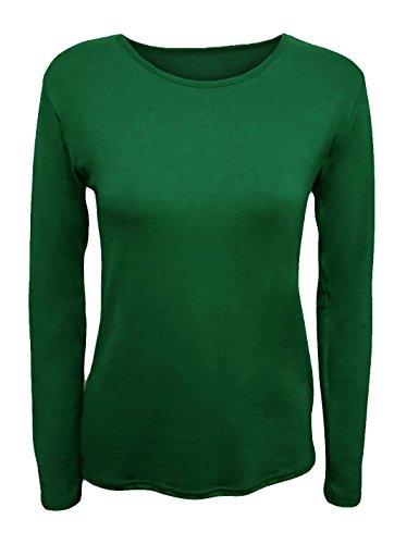 S manica Top donna lunga xxxl Verde Fashions elastica Shirt Fancy donna T da unita bottiglia Girocollo Islander a da Tinta ZaY1xq