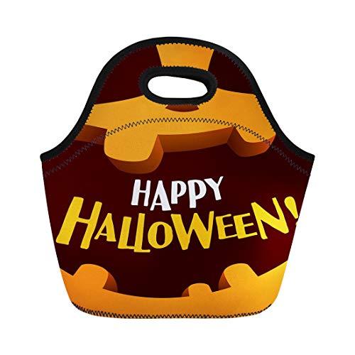 Tinmun Lunch Tote Bag Pumpkin Happy Halloween Cartoon Celebration Character Copy Creepy Face Reusable Neoprene Bags Insulated Thermal Picnic Handbag for Women Men