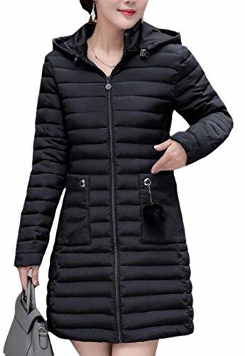 Hot Sale-UK Womens Long Sleeve Lightweight Hooded Long Down Puffer Jacket Black