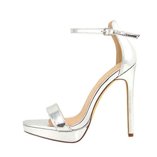 Metallic Open Toe Heels - Olivia and Jaymes Women's Ankle Strap Open Peep Toe High Heels Dress, Wedding, Party Heeled Sandals | Elegant, Comfortable & Strappy (8, Silver Metallic)