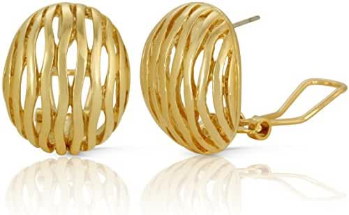 JanKuo Jewelry Gold Plated Pattern Oval French Clip Earrings