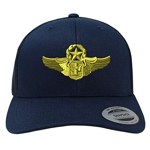 Snapback Baseball Cap Master Airman Wings Symbol Embroidery Unit Cotton Mesh Hat Snaps - Navy, Design Only (Masters Golf Hat Navy)