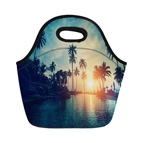 (Semtomn Lunch Bags Colorful Asia Tropical Sea Beach Silhouetted Palm Trees During Neoprene Lunch Bag Lunchbox Tote Bag Portable Picnic Bag Cooler Bag)