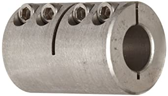"Climax Metal ISCC-062-062-S Clamp Coupling, Stainless Steel Grade 303, 5/8"" Bore , 1-5/16"" OD, With 10-32 x 1/2 Set Screw"