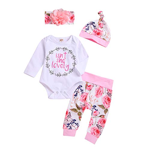 Newborn Baby Girl Clothes Isnt She Lovely Outfit White Romper Bodysuit Top Floral Pants Set with Headband Hat 4Pcs Clothing (Pink, Newborn)