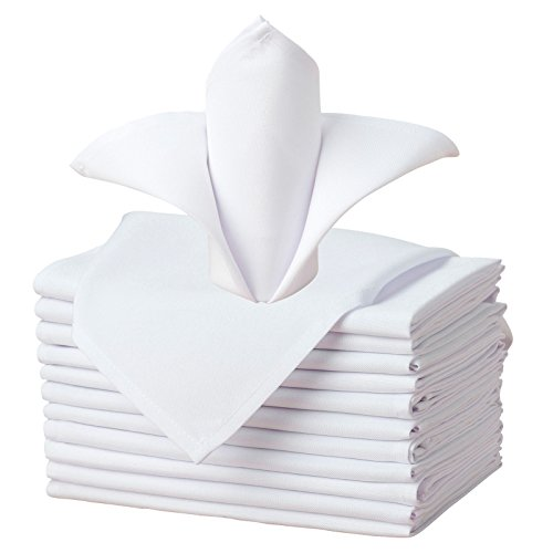 VEEYOO Cloth Napkins Oversized 20x20 inch - Set of 12 Pieces Solid Washable Polyester Dinner Napkins with Hemmed Edges for Wedding Party Restaurant, White Napkin ()