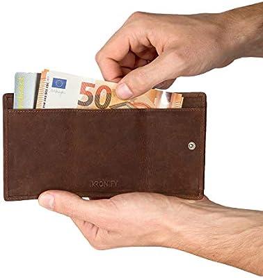 56a704b408373 KRONIFY Schmaler Geldbeutel Männer mit RFID Schutz und Münzfach aus Büffelleder  Geschenk Kleine Geldbörse Herren Leder
