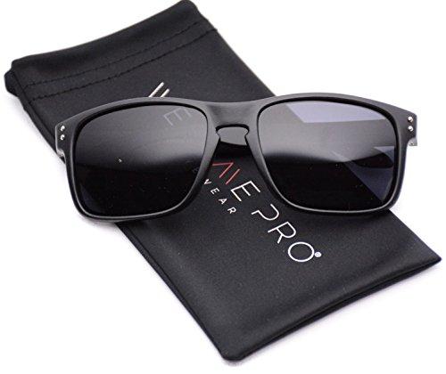 WearMe Pro - Premium Polarized Mirror Lens Classic Wayfarer Style Sunglasses (Black, 53)