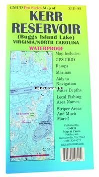 Reservoir Fishing Map - GMCO 10620PS Kerr Reservoir Sheet for Virginia and North Carolina