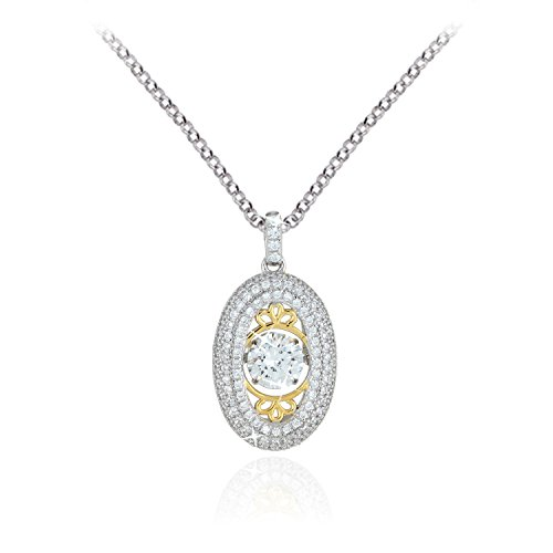 Genuine Sterling Silver with Yellow Gold Plating and Platinum Plating Oval Pendant Dancing Stone - Pendant Platinum Diamond Vermeil