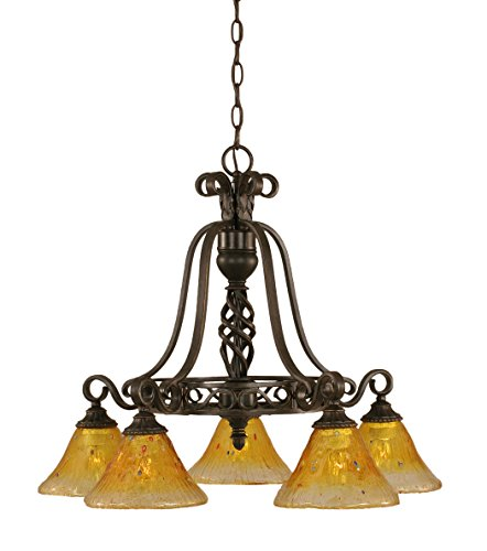 Toltec Lighting 867-DG-770 Eleganté 5 Light Chandelier with 7