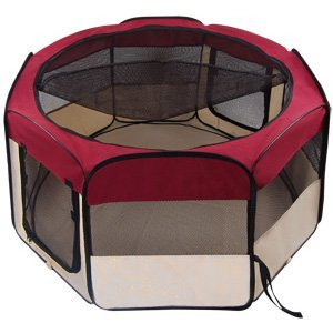 Durable 45'' Dia. x 24'' H Octagon Pet Playpen Dog Puppy Exercise Pen Kennel Maroon 600D Oxford Cloth Material w/ Mesh Cover Panels Zippered Doors Portable Case