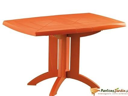 Table de jardin pliante en résine Vega orange Mango: Amazon ...