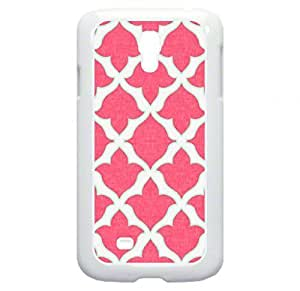 Pink Tulip Pattern- Case for the Galaxy S4 i9500 -Hard White Plastic Case