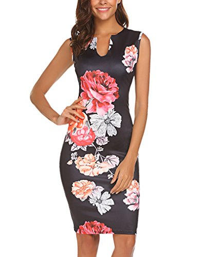 ess Wear To Work Sleeveless V Neck Bodycon Pencil Dress, Black Floral, 6/8 ()