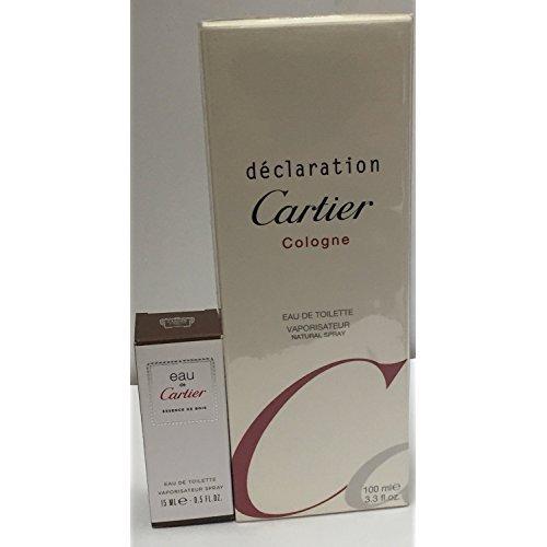 Cartier Declaration Essence (InternetFragrance] Cartier Déclaration Cologne Eau De Toilette 3.3 oz / 100 ml for Men by (InternetFragrance) + Cartier Essence de Bois mini spray 15 ml)