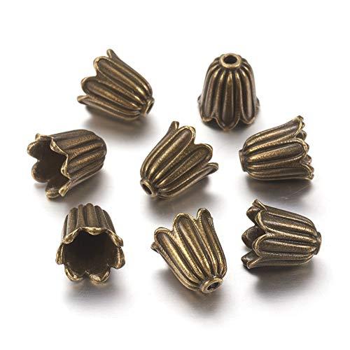 (Craftdady 20Pcs Antique Bronze Flower Spacer Bead Caps 10x10mm Cadmium Free & Lead Free & Nickel Free Tibetan Metal Bead Cone End Caps Terminators for DIY Jewelry Making )