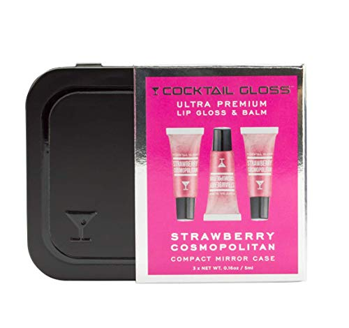 Cocktail Gloss (Strawberry Cosmopolitan) - Ultra Premium Lip Gloss-Balm, Three Clear Gel Mini Glosses with Compact Mirror Case (Non-Alcoholic, Paraben Free, Petroleum Free) 3 x .16oz ()