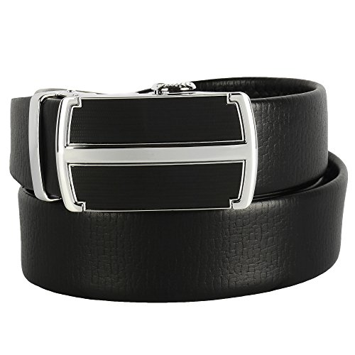 Candor and Class Men's Leather Ratchet Belt with Automatic Click, Micro Adjustable Buckle, Split Hide Genuine Leather, Gift Box (A07Z (Leather Slip Belt)