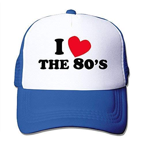 I Love The 80S Mesh Hat Unisex Trucker Caps Sun Mesh Back Cap Hat Sport RoyalBlue