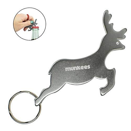 (AceCamp Munkees Land Animal Bottle Opener Keychains, Mini Key Rings, Small Pocket-Sized Key Chains for Wine, Caps, Beer, Can & Bottlecaps - Deer, Reindeer)