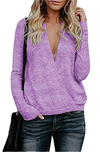 FEIYOUNG Women's Deep V-Neck Long Sleeve Wrap Front Loose Wool Cashmere Sweater Winter Tops Purple