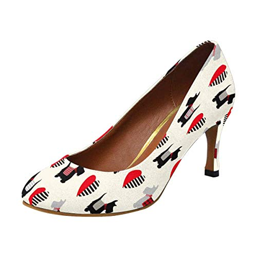 INTERESTPRINT Womens High Heels Pull On Fashion Dress Pump Scottie Dog 8 B(M) US ()