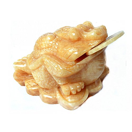 Feng Shui Fortune Coin Jade Money Toad Frog Sculpture Statue Chan Chu Charm of Prosperity Decoration (Chinese Antique Jade)