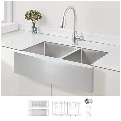 Farmhouse Kitchen ZUHNE Stainless Steel Double Basin Farmhouse Sink 60/40 (33-Inch Curved Apron Front) farmhouse kitchen sinks