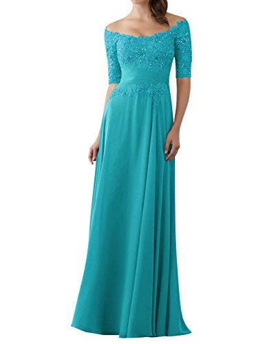 (Evening Dresses Mother of The Bride Gowns with Sleeves Lace Long Chiffon Beaded Turquoise US10)