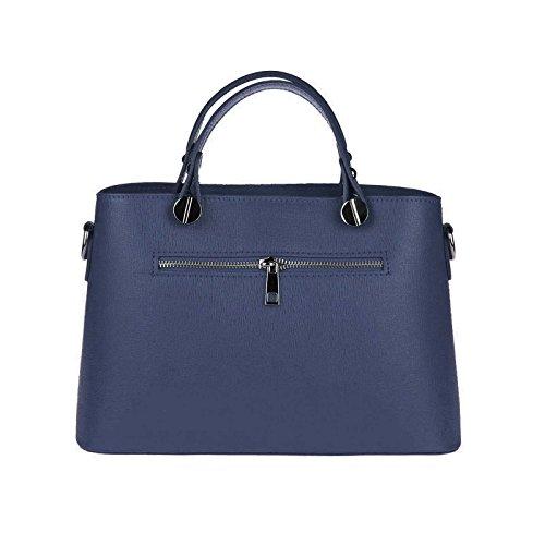 Da 30x21x11 ca BxHxT Donna Made Blu A Borsetta OBC ca Italy BxHxT Beige Pelle borsa Tracolla Blu in cm marino scuro pelle Cognac cm vera 30x21x11 Borsa qCRwZCIB4