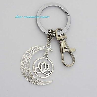 Cresent Luna de flor de loto llavero, llavero, diseño de flor de loto, Lotus encanto llavero, Lotus llavero