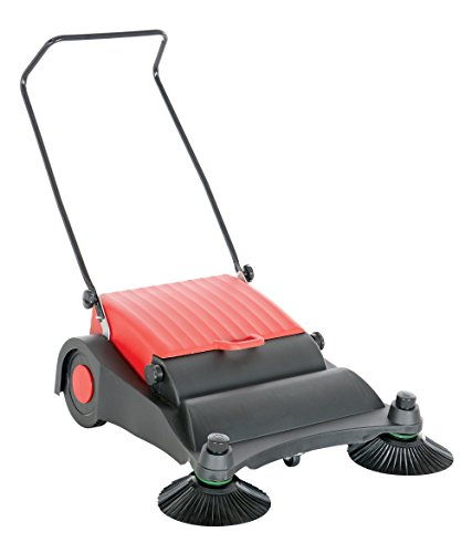 Vestil JAN-LG Manual Push Floor Sweeper with Steel Handle, 32-1/2