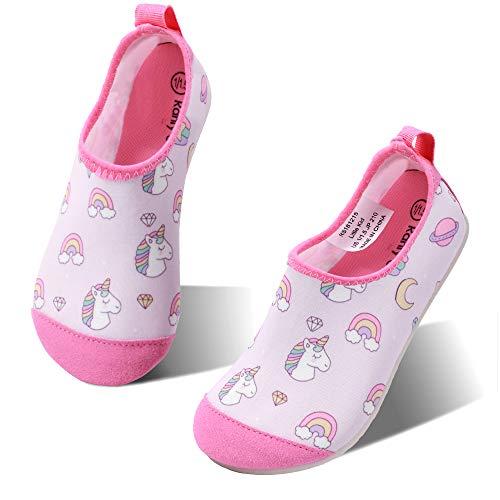hiitave Infant Swim Water Shoes Non-Slip Quick Dry Barefoot Beach Aqua Pool Socks for Boys & Girls Kids Toddler Pink/Unicorn Rainbow 2-3 M US Little Kid (Baby Swim Shoes Size 2)