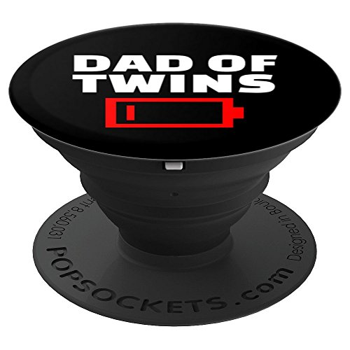 Tired Dad Of Twins Father Funny Low Battery New Baby Gift - PopSockets Grip and Stand for Phones and Tablets
