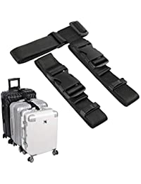 """luggage connector straps for suitcase add a bag adjustable attachment accessories 1.25"""" endless for connect your 3 luggage Together-2 pack"""