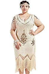 Beig 1920s Sequin Art Plus Size Dress with Sleeve