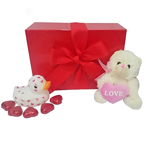 Mother's Day Gift Set with White Love Duck, Pink Teddy Bear and Heart Chocolates in Scarlet Gift Box ()