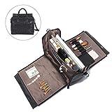 Brenice Travel Makeup Bag, Embossed Flower Handbags Vintage Large Capacity Leather Bohemian Shoulder Bag Black 12.2''x 5.71''x 11.42''(LxWxH)