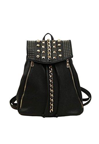 Omine Women's Studs Spikes Zipper Tassel Top Handle Shoulder Straps Fashion Vintage Backpack Black