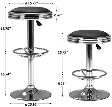 Peachy Lch Swivel Bar Stools Bar Counter Pub Height Stools Adjustable 24 To 32 Round Pu Hydraulic Lift Bar Stools With Chrome Plated Footrest And Base Bralicious Painted Fabric Chair Ideas Braliciousco