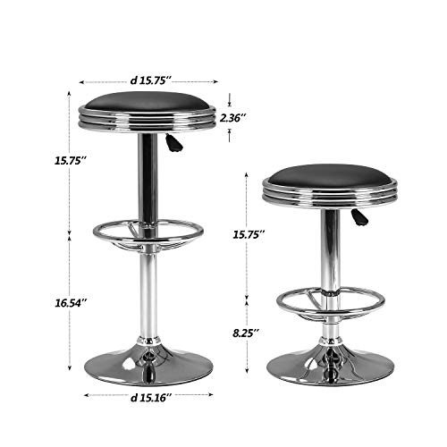 LCH Hydraulic Lift Bar Stool 24 -32 Adjustable Swivel Bar Chair – Extra Large Round PU Leather Backless Seat with Chrome Plated Footrest and Base Black