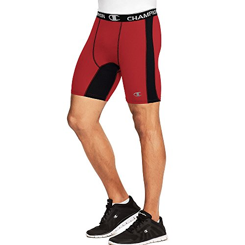 Champion Men's Power Flex Solid Compression Shorts 6-inch_Scarlet/Black_S