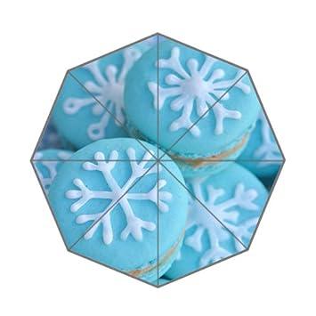 Colorido francés macarons postre Cookies copo de nieve patrón plegable paraguas