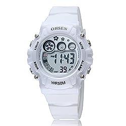 GOHUOS Women's LED Digital Chronograph Sports Multifunction Calendar Alarm Electronic Wrist Watch White
