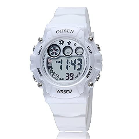 GOHUOS Women's LED Digital Chronograph Sports Multifunction Calendar Alarm Electronic Wrist Watch (Sport Watches Womens White)