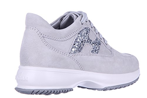 Hogan chaussures baskets sneakers filles en daim neuves h fustellata glitter gri