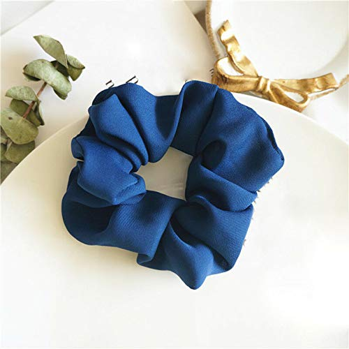 Cute Elegant Elastic Rubber Hair Rope Lady Solid Girls Gifts Ponytail Holder 1pc (Color - Blue)