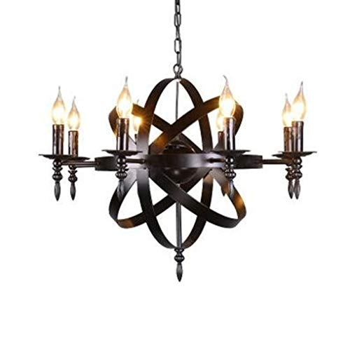 Red red shop Chandelier Industrial wind retro meal living room barber clothing wine hotel bird cage globe satellite candle wrought iron chandelier RRS